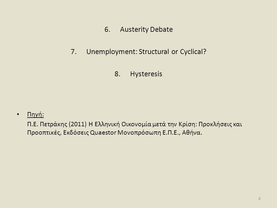 6.Austerity Debate 7.Unemployment: Structural or Cyclical.