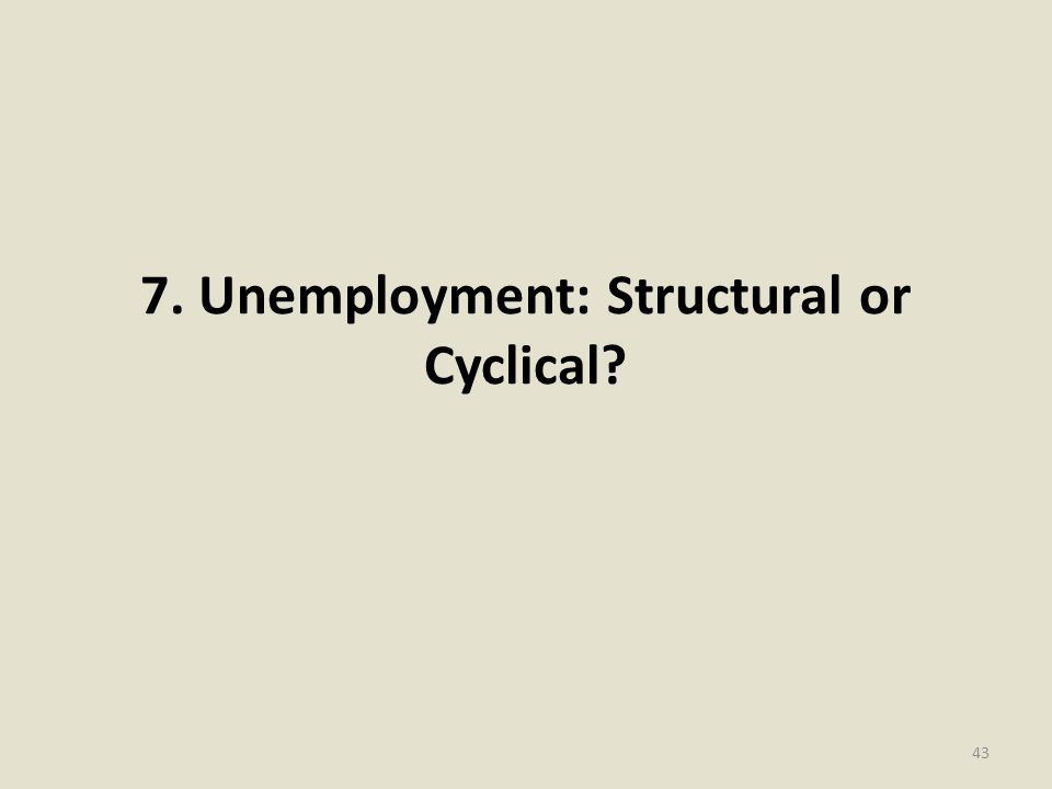 7. Unemployment: Structural or Cyclical? 43