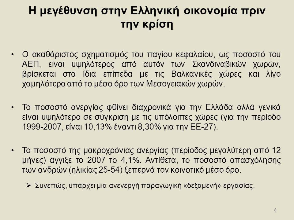 8 Η μεγέθυνση στην Ελληνική οικονομία πριν την κρίση •Ο ακαθάριστος σχηματισμός του παγίου κεφαλαίου, ως ποσοστό του ΑΕΠ, είναι υψηλότερος από αυτόν τ