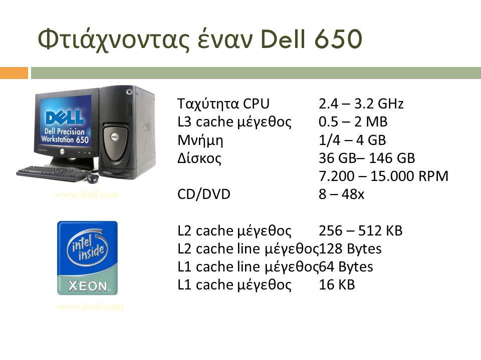 Φτιάχνοντας έναν Dell 650 Ταχύτητα CPU 2.4 – 3.2 GHz L3 cache μέγεθος 0.5 – 2 MB Μνήμη 1/4 – 4 GB Δίσκος 36 GB– 146 GB 7.200 – 15.000 RPM CD/DVD 8 – 4
