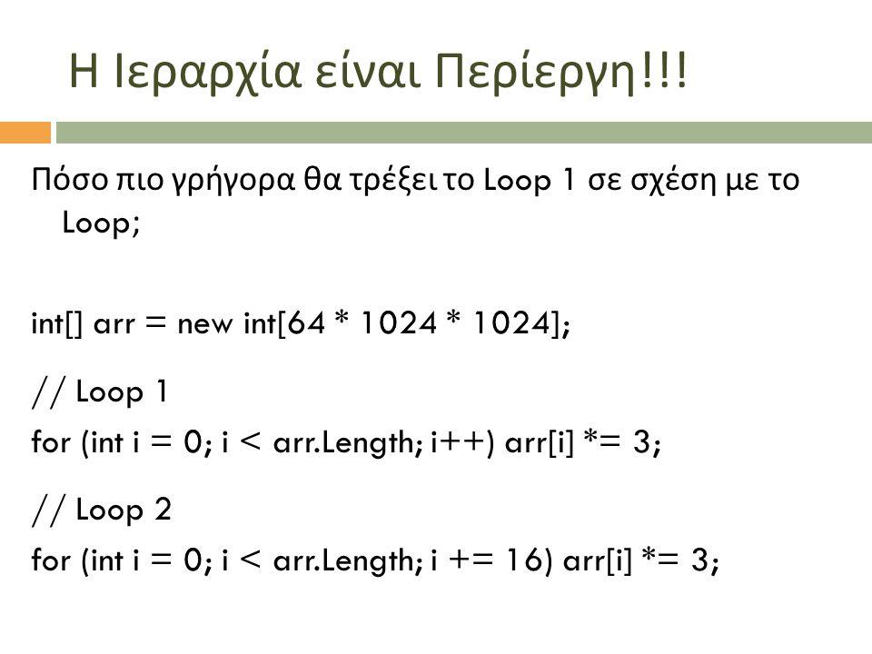 Η Ιεραρχία είναι Περίεργη !!! Πόσο πιο γρήγορα θα τρέξει το Loop 1 σε σχέση με το Loop; int[] arr = new int[64 * 1024 * 1024]; // Loop 1 for (int i =