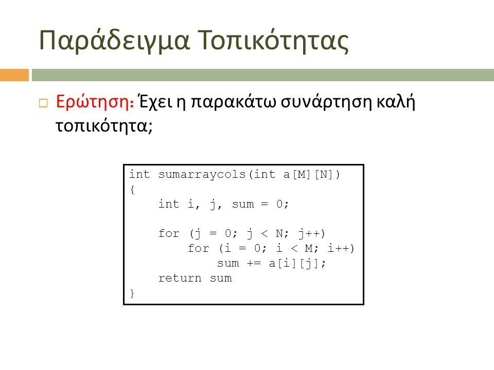 Παράδειγμα Τοπικότητας  Ερώτηση : Έχει η παρακάτω συνάρτηση καλή τοπικότητα ; int sumarraycols(int a[M][N]) { int i, j, sum = 0; for (j = 0; j < N; j