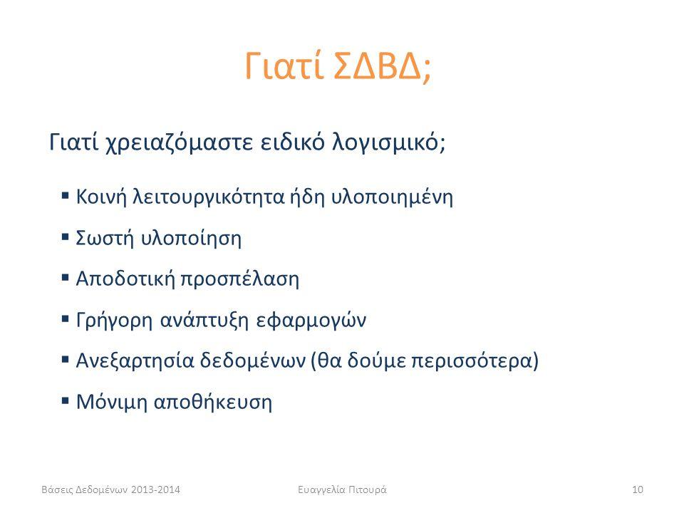 Βάσεις Δεδομένων 2013-2014Ευαγγελία Πιτουρά10  Κοινή λειτουργικότητα ήδη υλοποιημένη  Σωστή υλοποίηση  Αποδοτική προσπέλαση  Γρήγορη ανάπτυξη εφαρ