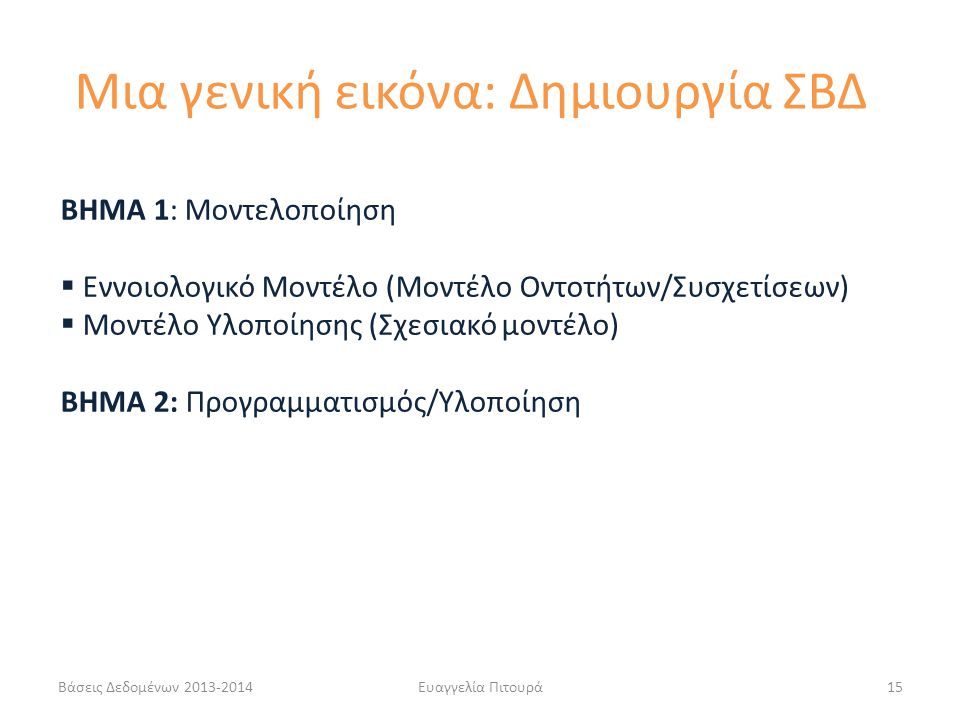 Βάσεις Δεδομένων 2013-2014Ευαγγελία Πιτουρά15 ΒΗΜΑ 1: Μοντελοποίηση  Εννοιολογικό Μοντέλο (Μοντέλο Οντοτήτων/Συσχετίσεων)  Μοντέλο Υλοποίησης (Σχεσιακό μοντέλο) ΒΗΜΑ 2: Προγραμματισμός/Υλοποίηση Μια γενική εικόνα: Δημιουργία ΣΒΔ