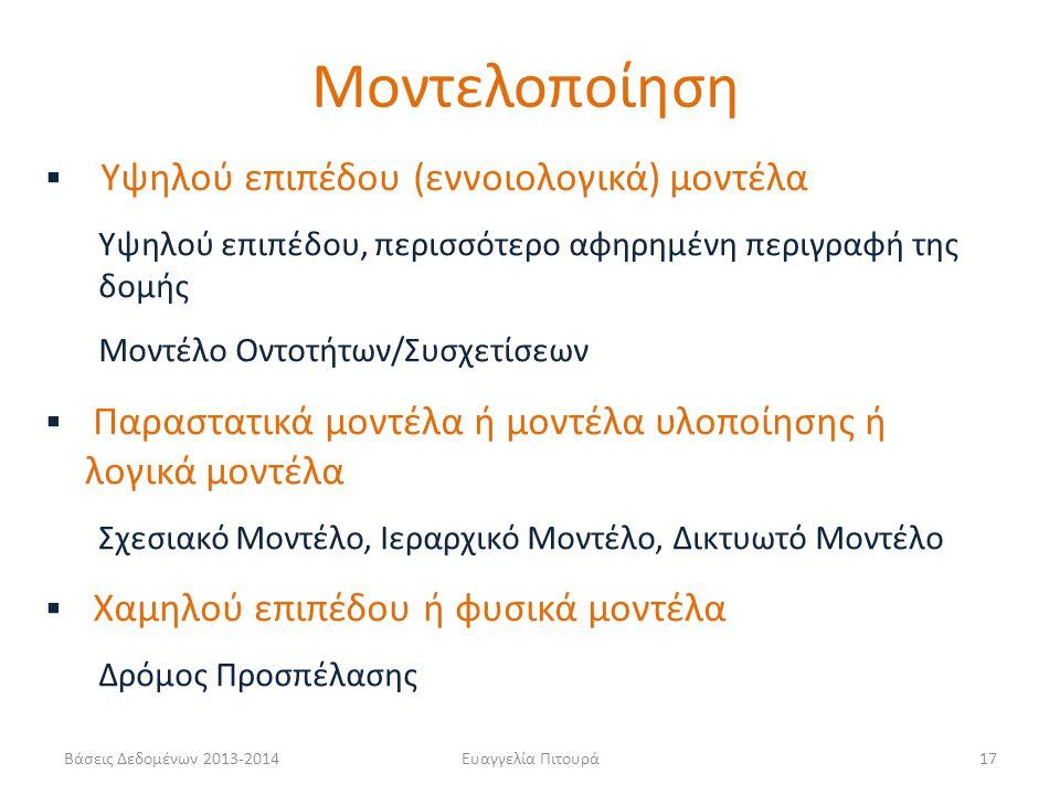 Βάσεις Δεδομένων 2013-2014Ευαγγελία Πιτουρά17  Υψηλού επιπέδου (εννοιολογικά) μοντέλα Υψηλού επιπέδου, περισσότερο αφηρημένη περιγραφή της δομής Μοντ