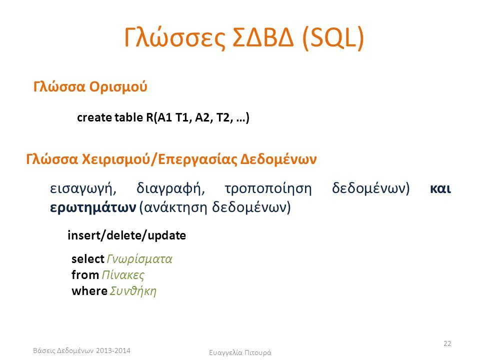 Βάσεις Δεδομένων 2013-2014 Ευαγγελία Πιτουρά 22 Γλώσσα Ορισμού Γλώσσα Χειρισμού/Επεργασίας Δεδομένων εισαγωγή, διαγραφή, τροποποίηση δεδομένων) και ερωτημάτων (ανάκτηση δεδομένων) Γλώσσες ΣΔΒΔ (SQL) create table R(A1 T1, A2, T2, …) insert/delete/update select Γνωρίσματα from Πίνακες where Συνθήκη