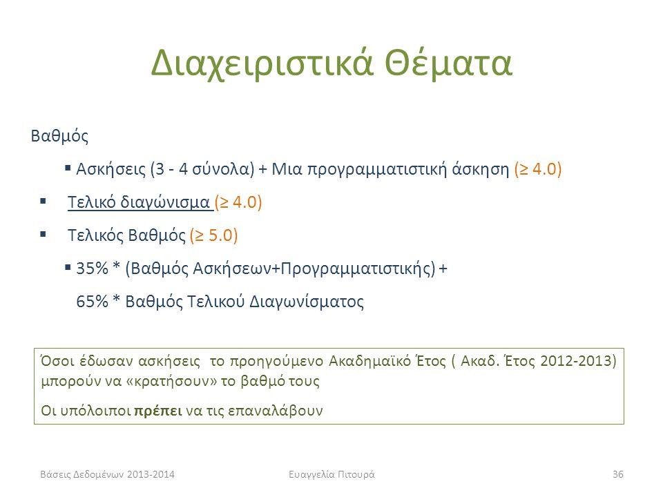 Βάσεις Δεδομένων 2013-2014Ευαγγελία Πιτουρά36 Βαθμός  Ασκήσεις (3 - 4 σύνολα) + Μια προγραμματιστική άσκηση (≥ 4.0)  Τελικό διαγώνισμα (≥ 4.0)  Τελικός Βαθμός (≥ 5.0)  35% * (Βαθμός Ασκήσεων+Προγραμματιστικής) + 65% * Βαθμός Τελικού Διαγωνίσματος Όσοι έδωσαν ασκήσεις το προηγούμενο Ακαδημαϊκό Έτος ( Ακαδ.