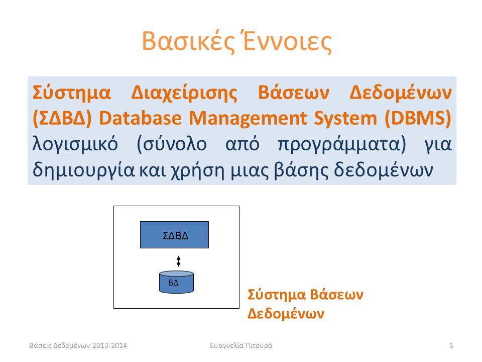Βάσεις Δεδομένων 2013-2014Ευαγγελία Πιτουρά26 Κάποιες λειτουργίες ενός ΣΔΒΔ  Ορισμός και Δημιουργία μιας βάσης δεδομένων: προδιαγραφή των τύπων, των δομών και των περιορισμών των δεδομένων που θα αποθηκευτούν στη ΒΔ  Χειρισμός (manipulation) μιας βάσης δεδομένων: υποβολή ερωτήσεων για την ανάκτηση δεδομένων, ενημέρωση (εισαγωγές, διαγραφές ή τροποποιήσεις)  Άλλες λειτουργίες: Διαμοιρασμός, προστασία από αστοχίες υλικού και λογισμικού, ασφάλεια, ρύθμιση (tuning) Βασικές Έννοιες