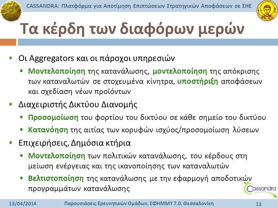 Παρουσιάσεις Ερευνητικών Ομάδων, ΣΦΗΜΜΥ 7.0, Θεσσαλονίκη CASSANDRA: Πλατφόρμα για Αποτίμηση Επιπτώσεων Στρατηγικών Αποφάσεων σε ΣΗΕ 13/04/2014 11 Τα κ