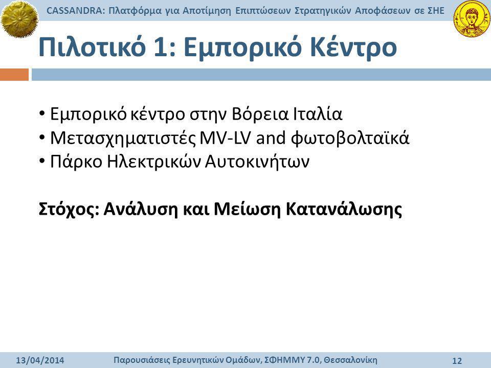 Παρουσιάσεις Ερευνητικών Ομάδων, ΣΦΗΜΜΥ 7.0, Θεσσαλονίκη CASSANDRA: Πλατφόρμα για Αποτίμηση Επιπτώσεων Στρατηγικών Αποφάσεων σε ΣΗΕ 13/04/2014 12 Πιλο