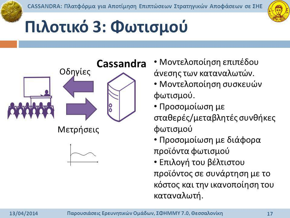 Παρουσιάσεις Ερευνητικών Ομάδων, ΣΦΗΜΜΥ 7.0, Θεσσαλονίκη CASSANDRA: Πλατφόρμα για Αποτίμηση Επιπτώσεων Στρατηγικών Αποφάσεων σε ΣΗΕ 13/04/2014 17 Πιλο