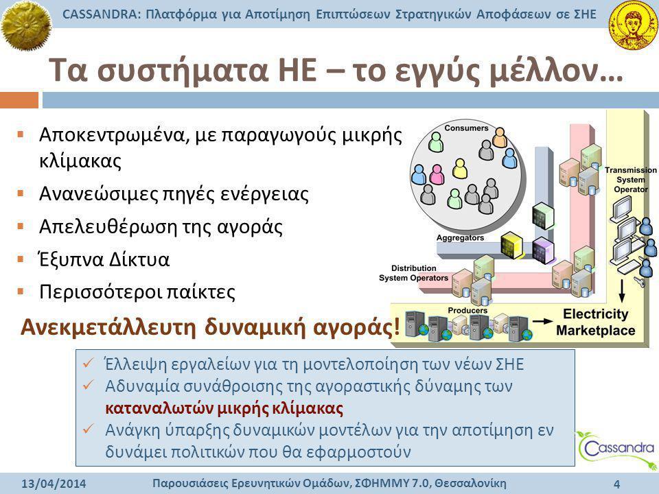Παρουσιάσεις Ερευνητικών Ομάδων, ΣΦΗΜΜΥ 7.0, Θεσσαλονίκη CASSANDRA: Πλατφόρμα για Αποτίμηση Επιπτώσεων Στρατηγικών Αποφάσεων σε ΣΗΕ 13/04/2014 4 Τα συ