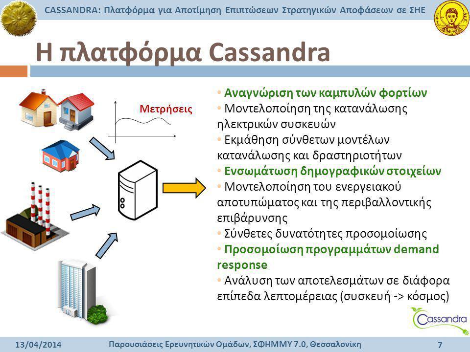 Παρουσιάσεις Ερευνητικών Ομάδων, ΣΦΗΜΜΥ 7.0, Θεσσαλονίκη CASSANDRA: Πλατφόρμα για Αποτίμηση Επιπτώσεων Στρατηγικών Αποφάσεων σε ΣΗΕ 13/04/2014 7 Η πλα