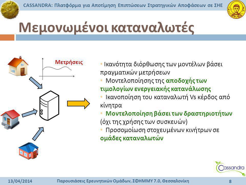 Παρουσιάσεις Ερευνητικών Ομάδων, ΣΦΗΜΜΥ 7.0, Θεσσαλονίκη CASSANDRA: Πλατφόρμα για Αποτίμηση Επιπτώσεων Στρατηγικών Αποφάσεων σε ΣΗΕ 13/04/2014 8 Μεμον