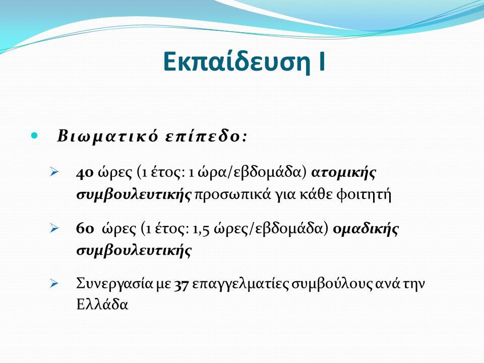 Εκπαίδευση Ι  Βιωματικό επίπεδο:  40 ώρες (1 έτος: 1 ώρα/εβδομάδα ) ατομικής συμβουλευτικής προσωπικά για κάθε φοιτητή  60 ώρες (1 έτος: 1,5 ώρες/ε