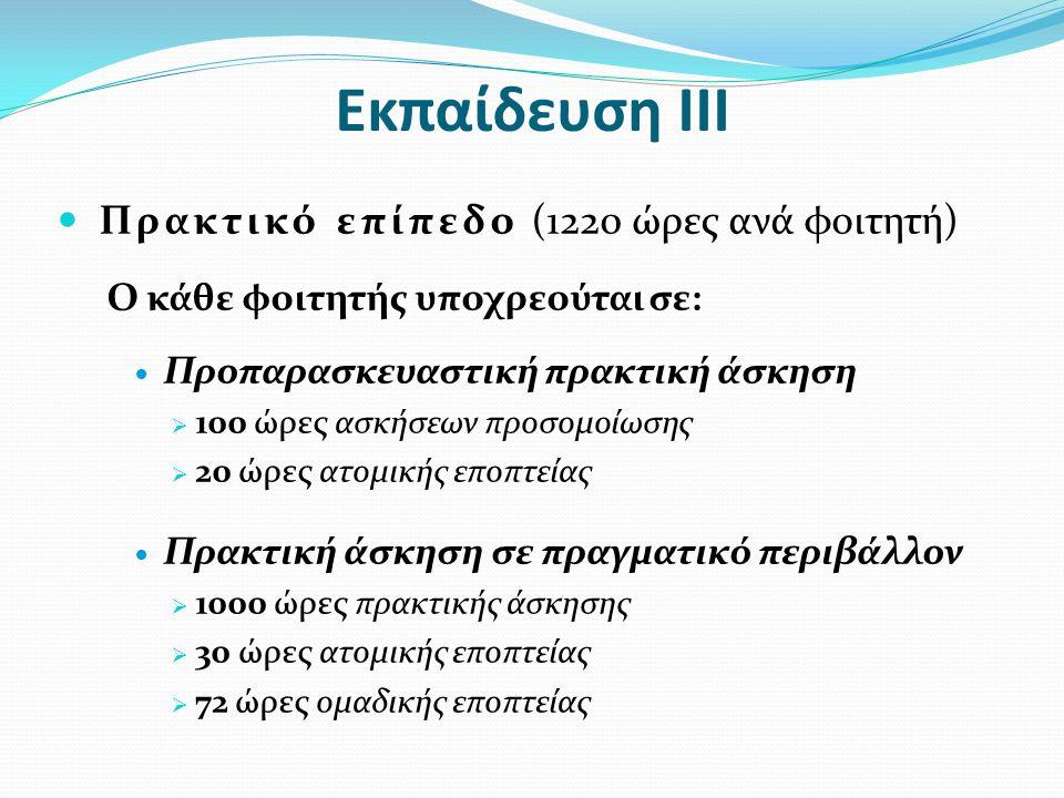 Εκπαίδευση ΙΙΙ  Πρακτικό επίπεδο (1220 ώρες ανά φοιτητή) Ο κάθε φοιτητής υποχρεούται σε:  Προπαρασκευαστική πρακτική άσκηση  100 ώρες ασκήσεων προσ