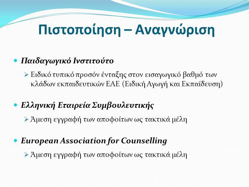 Πιστοποίηση – Αναγνώριση  Παιδαγωγικό Ινστιτούτο  Ειδικό τυπικό προσόν ένταξης στον εισαγωγικό βαθμό των κλάδων εκπαιδευτικών ΕΑΕ (Ειδική Αγωγή και