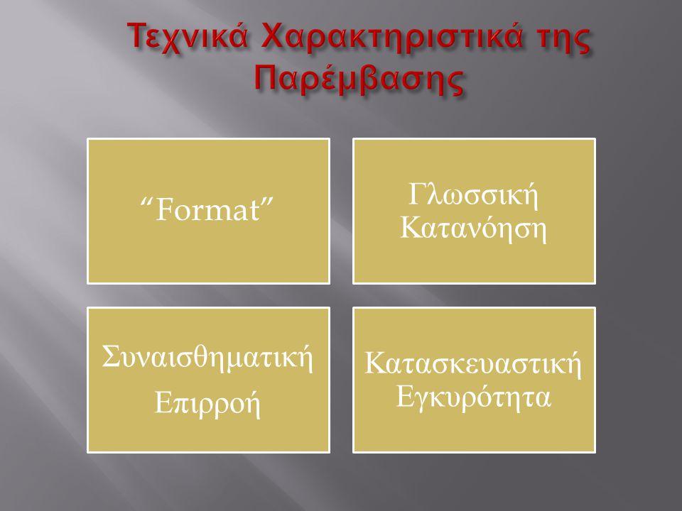 """""""Format"""" Γλωσσική Κατανόηση Συναισθηματική Επιρροή Κατασκευαστική Εγκυρότητα"""