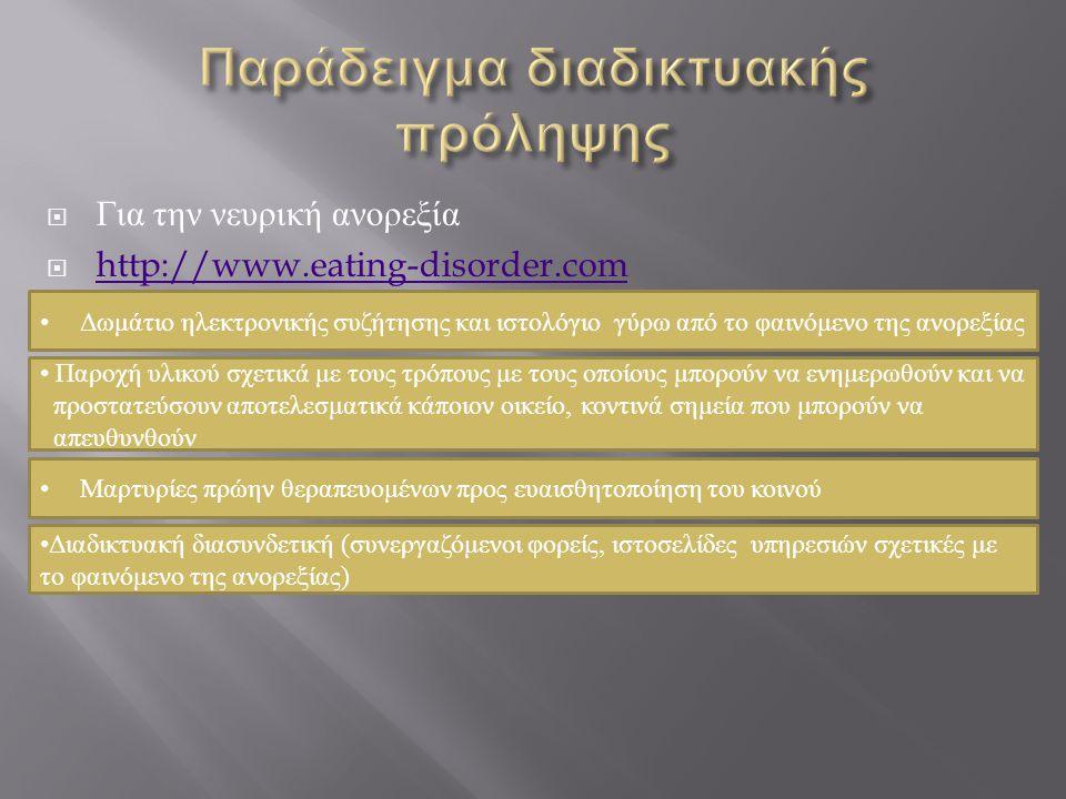  Για την νευρική ανορεξία  http://www.eating-disorder.com http://www.eating-disorder.com • Δωμάτιο ηλεκτρονικής συζήτησης και ιστολόγιο γύρω από το