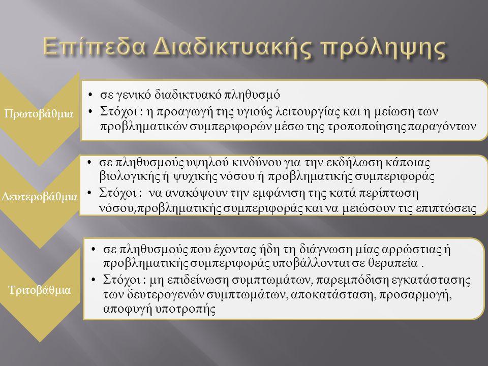 Πρωτοβάθμια • σε γενικό διαδικτυακό πληθυσμό • Στόχοι : η προαγωγή της υγιούς λειτουργίας και η μείωση των προβληματικών συμπεριφορών μέσω της τροποπο