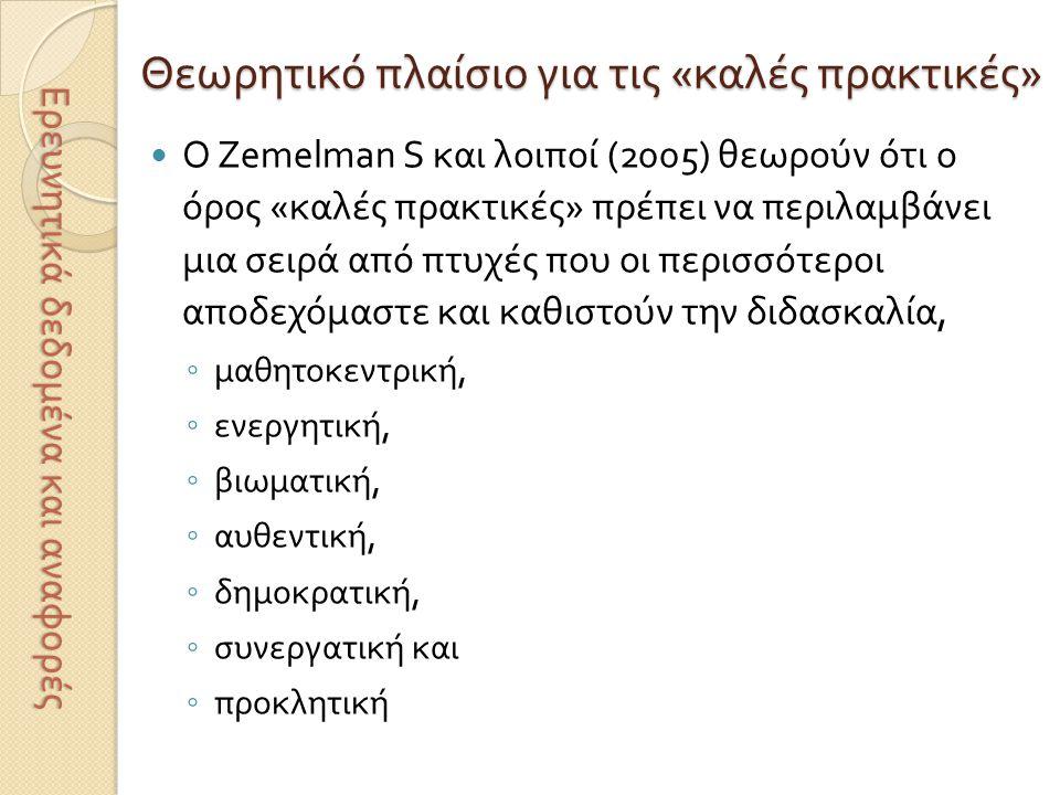 Θεωρητικό πλαίσιο για τις « καλές πρακτικές »  Κατά τους Grouws D.
