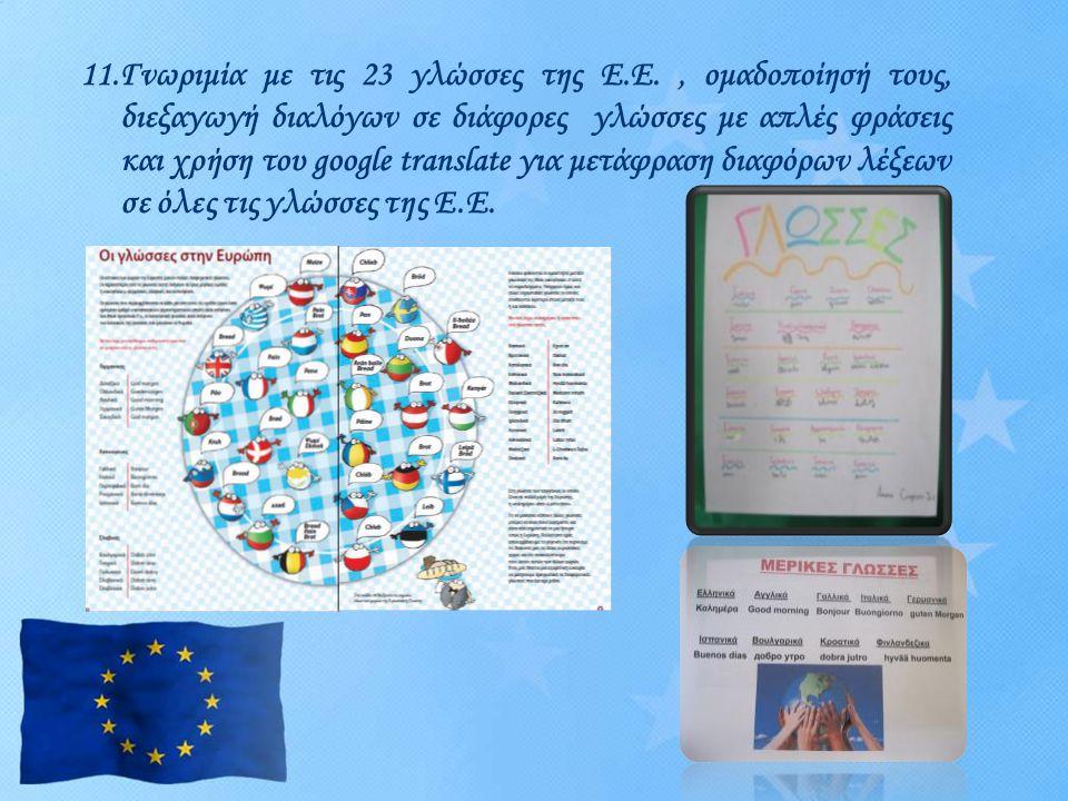 11.Γνωριμία με τις 23 γλώσσες της Ε.Ε., ομαδοποίησή τους, διεξαγωγή διαλόγων σε διάφορες γλώσσες με απλές φράσεις και χρήση του google translate για μ