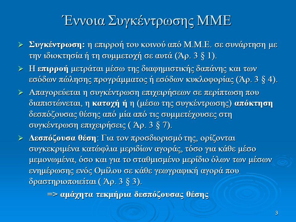 3 Έννοια Συγκέντρωσης ΜΜΕ  Συγκέντρωση: η επιρροή του κοινού από Μ.Μ.Ε.