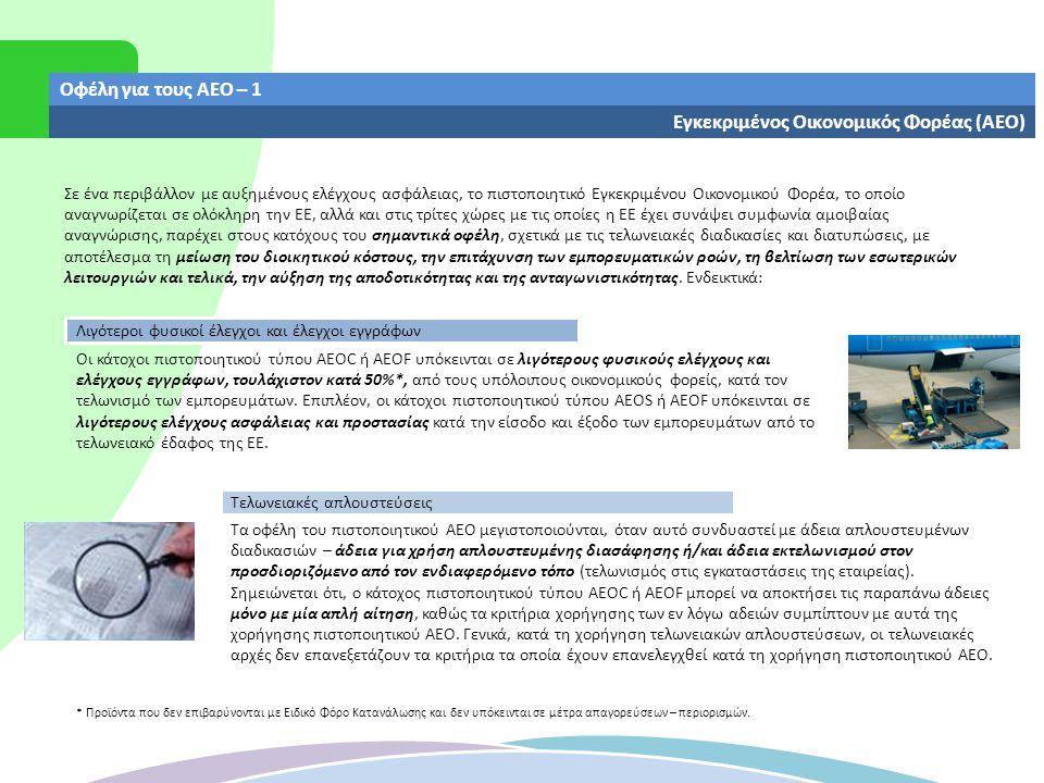 Οφέλη για τους ΑΕΟ – 2 Εγκεκριμένος Οικονομικός Φορέας (ΑΕΟ) Μειωμένες εγγυήσεις Αναγνώριση ως ασφαλούς επιχειρηματικού εταίρου Αμοιβαία αναγνώριση Η αμοιβαία αναγνώριση των προγραμμάτων ΑΕΟ μεταξύ της ΕΕ και τρίτων χωρών, παρέχει τη δυνατότητα στους κατόχους πιστοποιητικού τύπου AEOS ή AEOF να απολαμβάνουν τα οφέλη των λιγότερων ελέγχων και των κατά προτεραιότητα ελέγχων κατά την είσοδο των εμπορευμάτων τους στις τρίτες χώρες, με τις οποίες η ΕΕ έχει συνάψει σχετική συμφωνία.