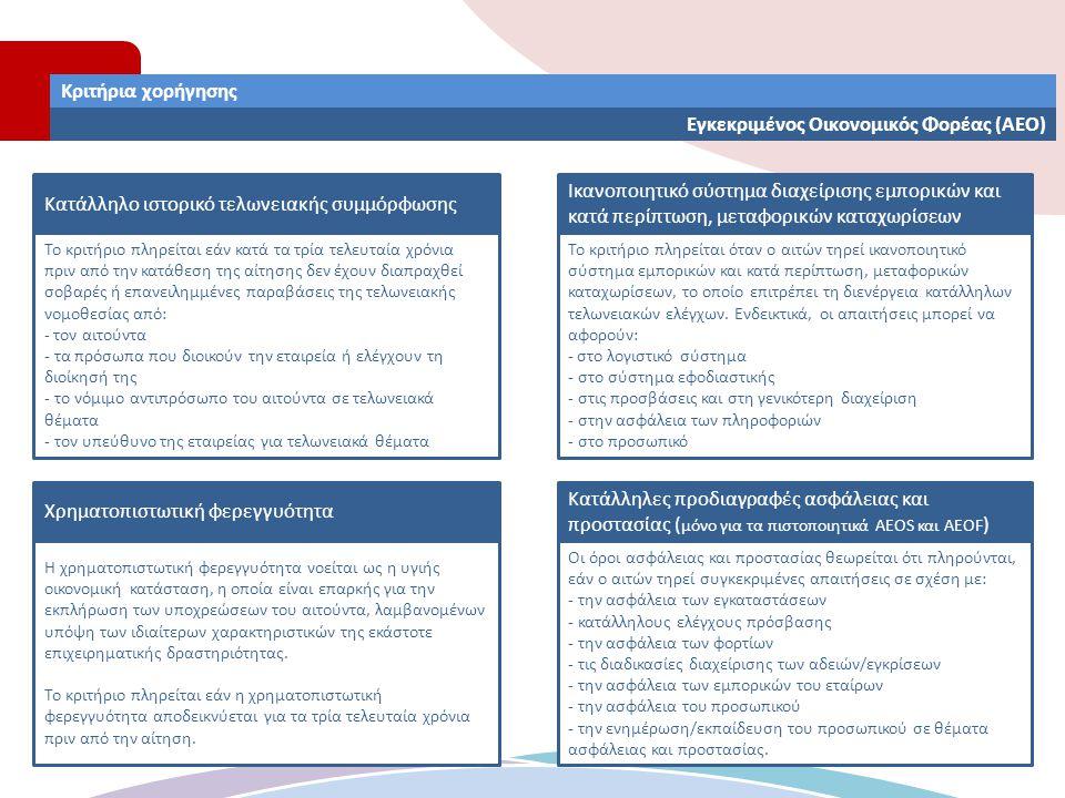 Κριτήρια χορήγησης Εγκεκριμένος Οικονομικός Φορέας (ΑΕΟ) Χρηματοπιστωτική φερεγγυότητα Κατάλληλο ιστορικό τελωνειακής συμμόρφωσης Το κριτήριο πληρείτα
