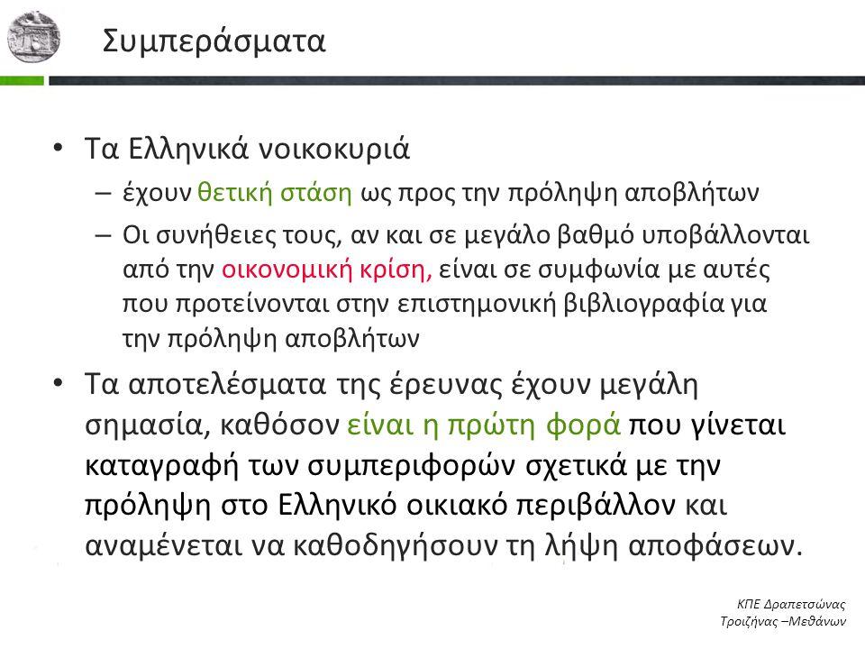 Συμπεράσματα • Τα Ελληνικά νοικοκυριά – έχουν θετική στάση ως προς την πρόληψη αποβλήτων – Οι συνήθειες τους, αν και σε μεγάλο βαθμό υποβάλλονται από