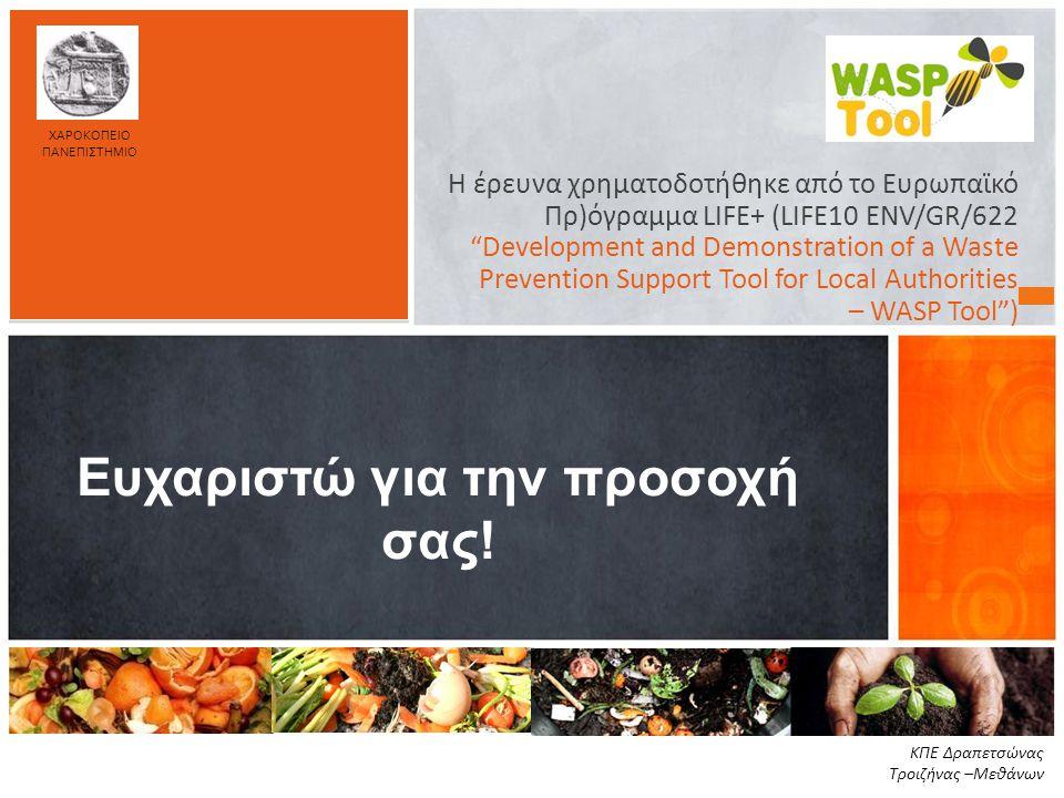 """Η έρευνα χρηματοδοτήθηκε από το Ευρωπαϊκό Πρ)όγραμμα LIFE+ (LIFE10 ENV/GR/622 """"Development and Demonstration of a Waste Prevention Support Tool for Lo"""