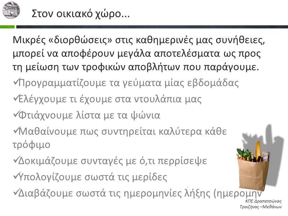 Στον οικιακό χώρο... Μικρές «διορθώσεις» στις καθημερινές μας συνήθειες, μπορεί να αποφέρουν μεγάλα αποτελέσματα ως προς τη μείωση των τροφικών αποβλή