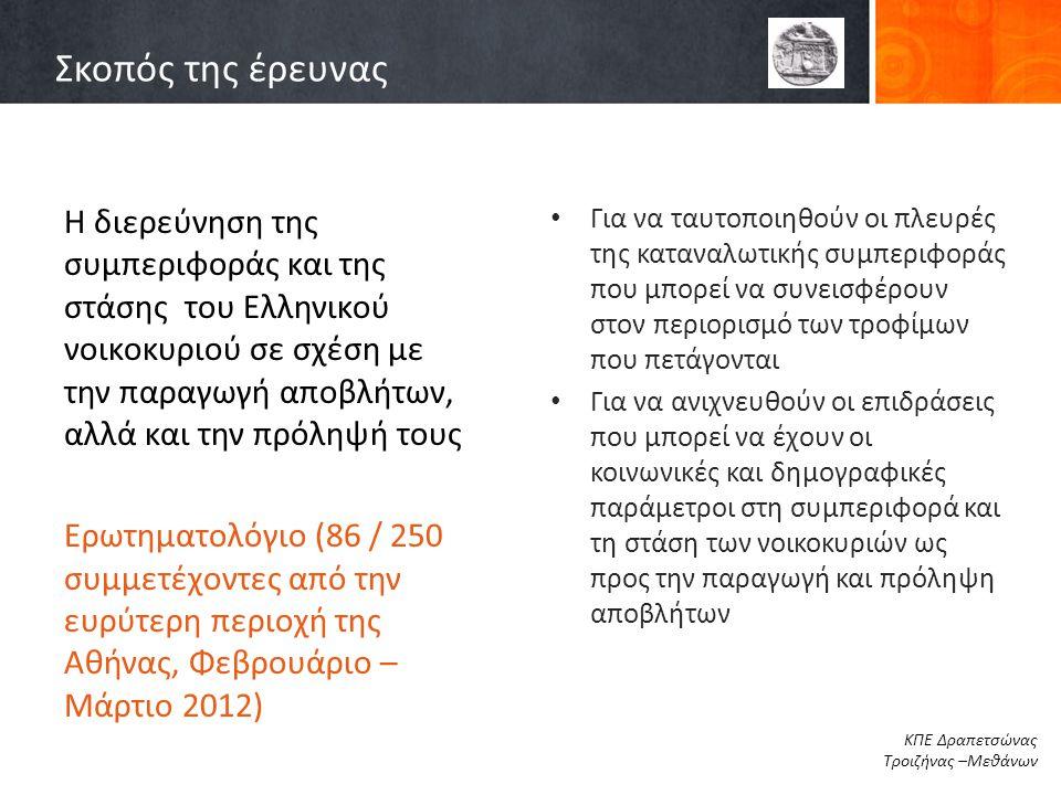 Σκοπός της έρευνας Η διερεύνηση της συμπεριφοράς και της στάσης του Ελληνικού νοικοκυριού σε σχέση με την παραγωγή αποβλήτων, αλλά και την πρόληψή του