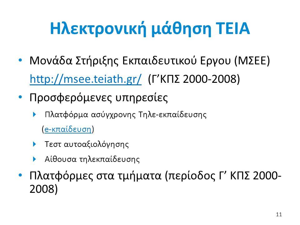 Ηλεκτρονική μάθηση ΤΕΙΑ • Μονάδα Στήριξης Εκπαιδευτικού Εργου (ΜΣΕΕ) http://msee.teiath.gr/http://msee.teiath.gr/ (Γ'ΚΠΣ 2000-2008) • Προσφερόμενες υπ