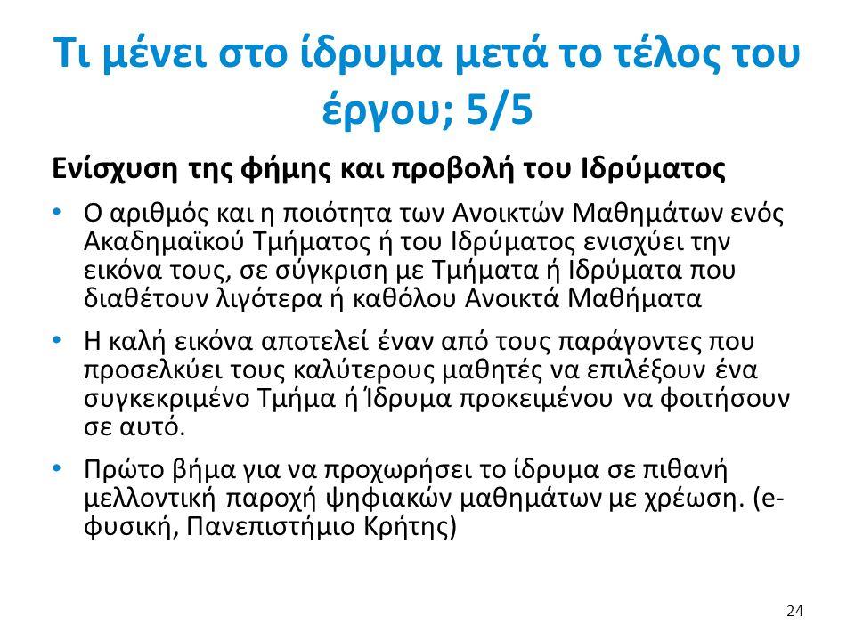 Τι μένει στο ίδρυμα μετά το τέλος του έργου; 5/5 Ενίσχυση της φήμης και προβολή του Ιδρύματος • Ο αριθμός και η ποιότητα των Ανοικτών Μαθημάτων ενός Α