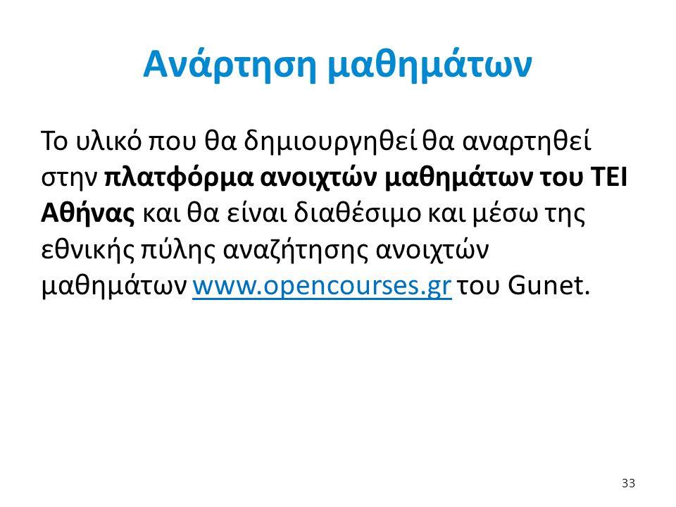Ανάρτηση μαθημάτων Το υλικό που θα δημιουργηθεί θα αναρτηθεί στην πλατφόρμα ανοιχτών μαθημάτων του ΤΕΙ Αθήνας και θα είναι διαθέσιμο και μέσω της εθνι