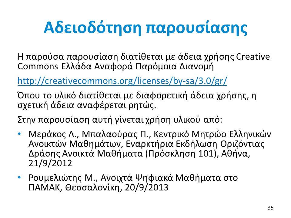 Αδειοδότηση παρουσίασης Η παρούσα παρουσίαση διατίθεται με άδεια χρήσης Creative Commons Ελλάδα Αναφορά Παρόμοια Διανομή http://creativecommons.org/li