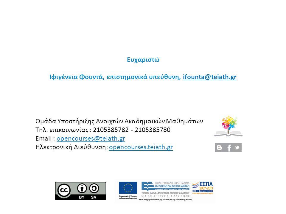 Ευχαριστώ Ιφιγένεια Φουντά, επιστημονικά υπεύθυνη, ifounta@teiath.grifounta@teiath.gr Ομάδα Υποστήριξης Ανοιχτών Ακαδημαϊκών Μαθημάτων Τηλ. επικοινωνί
