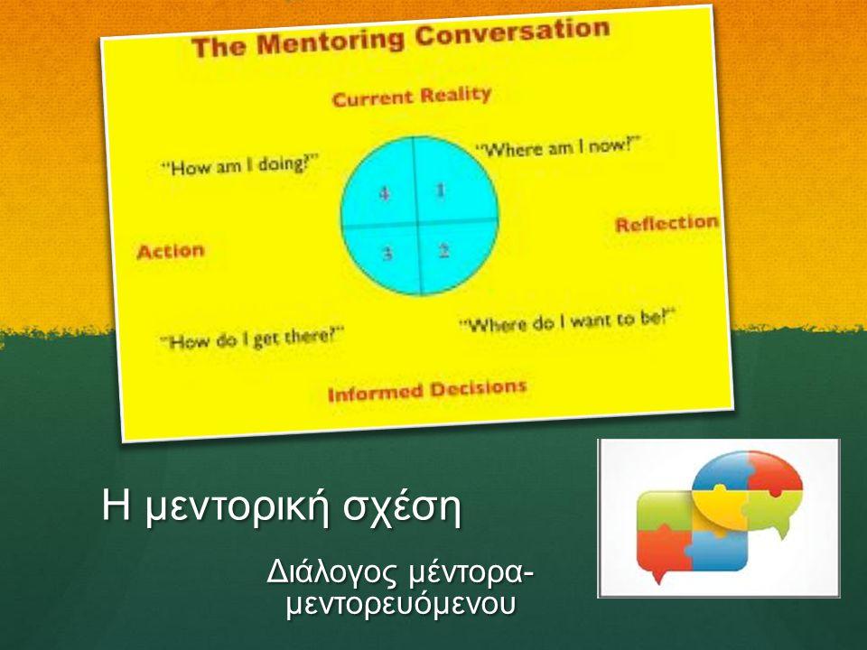 Η μεντορική σχέση Διάλογος μέντορα- μεντορευόμενου