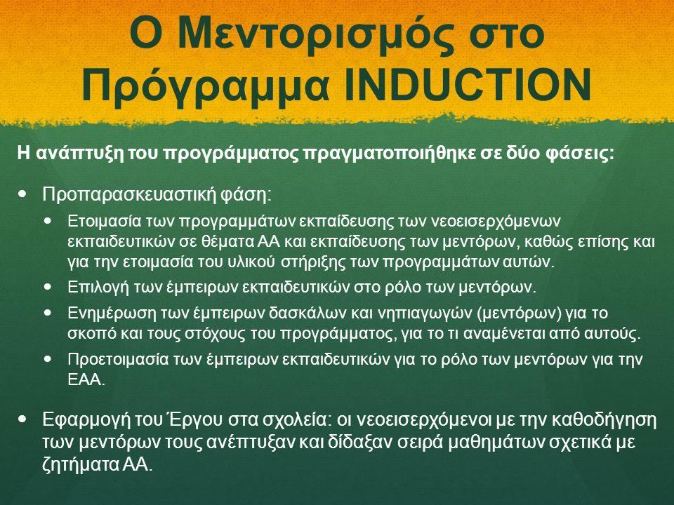 Ο Μεντορισμός στο Πρόγραμμα INDUCTION Η ανάπτυξη του προγράμματος πραγματοποιήθηκε σε δύο φάσεις:   Προπαρασκευαστική φάση:   Ετοιμασία των προγρα