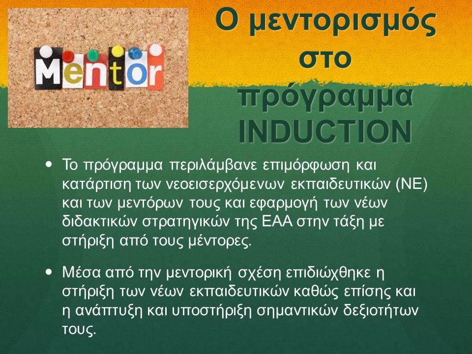 Ο μεντορισμός στο πρόγραμμα INDUCTION   Το πρόγραμμα περιλάμβανε επιμόρφωση και κατάρτιση των νεοεισερχόμενων εκπαιδευτικών (ΝΕ) και των μεντόρων τους και εφαρμογή των νέων διδακτικών στρατηγικών της ΕΑΑ στην τάξη με στήριξη από τους μέντορες.