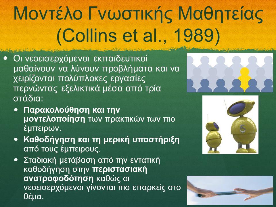 Μοντέλο Γνωστικής Μαθητείας (Collins et al., 1989)   Οι νεοεισερχόμενοι εκπαιδευτικοί μαθαίνουν να λύνουν προβλήματα και να χειρίζονται πολύπλοκες εργασίες περνώντας εξελικτικά μέσα από τρία στάδια:   Παρακολούθηση και την μοντελοποίηση των πρακτικών των πιο έμπειρων.