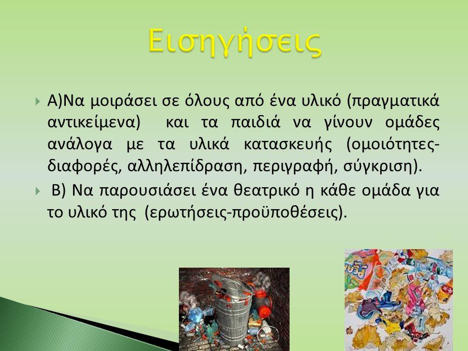  Α)Να μοιράσει σε όλους από ένα υλικό (πραγματικά αντικείμενα) και τα παιδιά να γίνουν ομάδες ανάλογα με τα υλικά κατασκευής (ομοιότητες- διαφορές, α