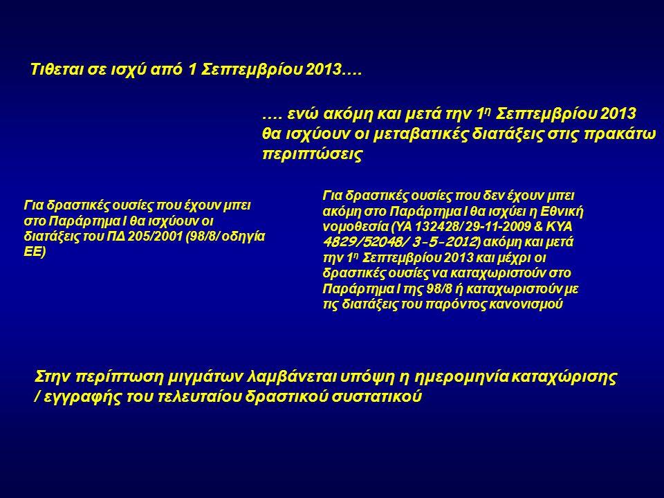 …για ποιες περιπτώσεις θα ισχύει ο Κανονισμός από την 1 η Σεπτεμβρίου 2013.
