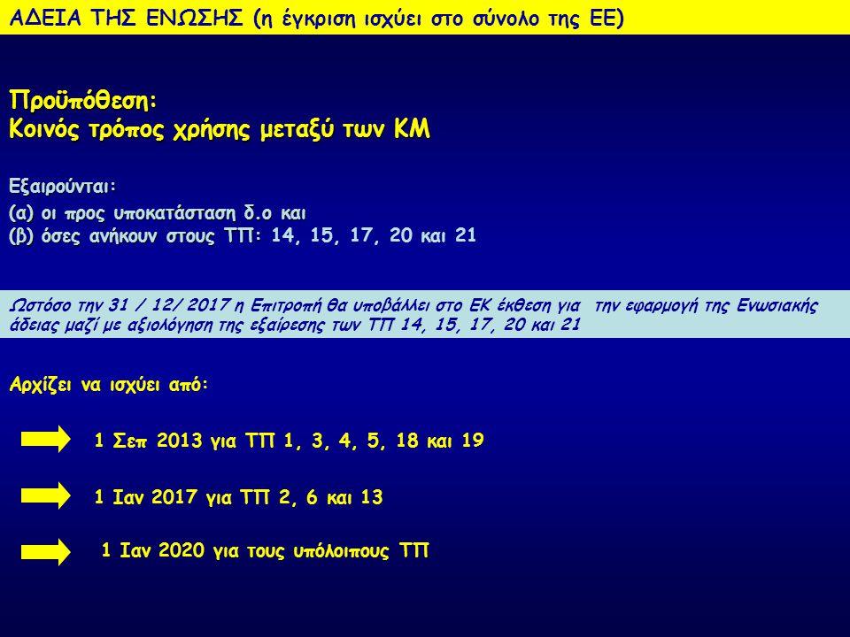 ΑΔΕΙΑ ΤΗΣ ΕΝΩΣΗΣ (η έγκριση ισχύει στο σύνολο της ΕΕ) Δικαιολογητικά: (1) Φάκελος ή LoA στη/στις δ.ο (2) Φάκελος ή LoA στο προϊόν (παράρτημα ΙΙΙ) (3) SPC (4) Βεβαίωση ότι οι προϋποθέσεις χρήσης θα είναι ίδιες στην ΕΕ Ότι προβλέπεται να έχει ένας φάκελος βιοκτόνου