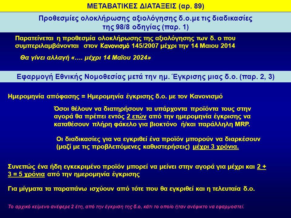 Αιτήσεις αξιολόγησης βιοκτόνων.με τις διαδικασίες της 98/8 οδηγίας (αρ.