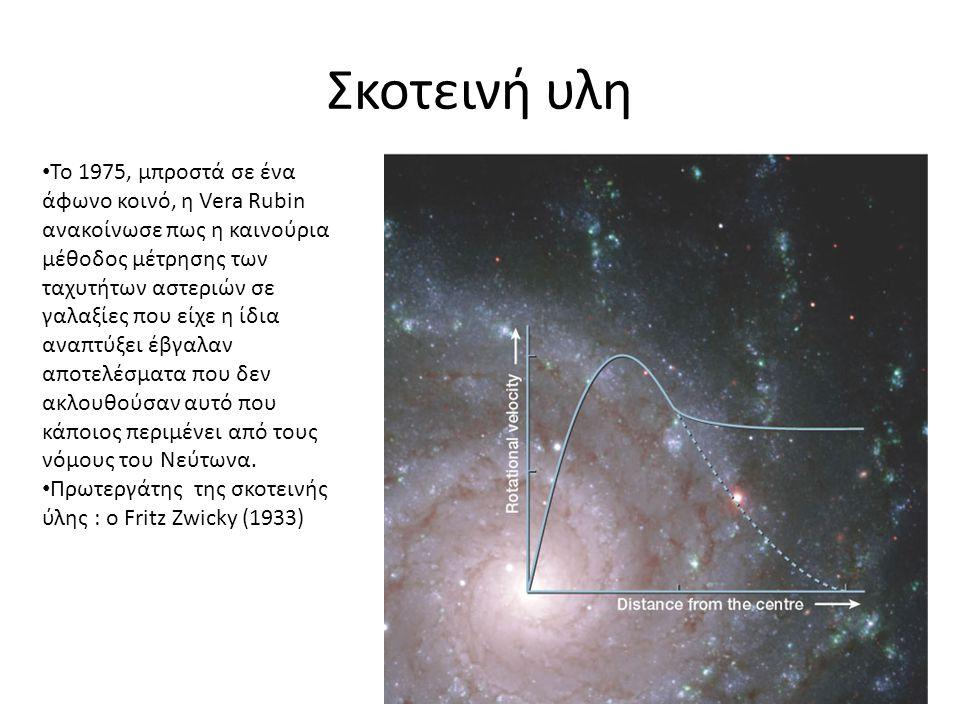 Σκοτεινή υλη • Το 1975, μπροστά σε ένα άφωνο κοινό, η Vera Rubin ανακοίνωσε πως η καινούρια μέθοδος μέτρησης των ταχυτήτων αστεριών σε γαλαξίες που εί