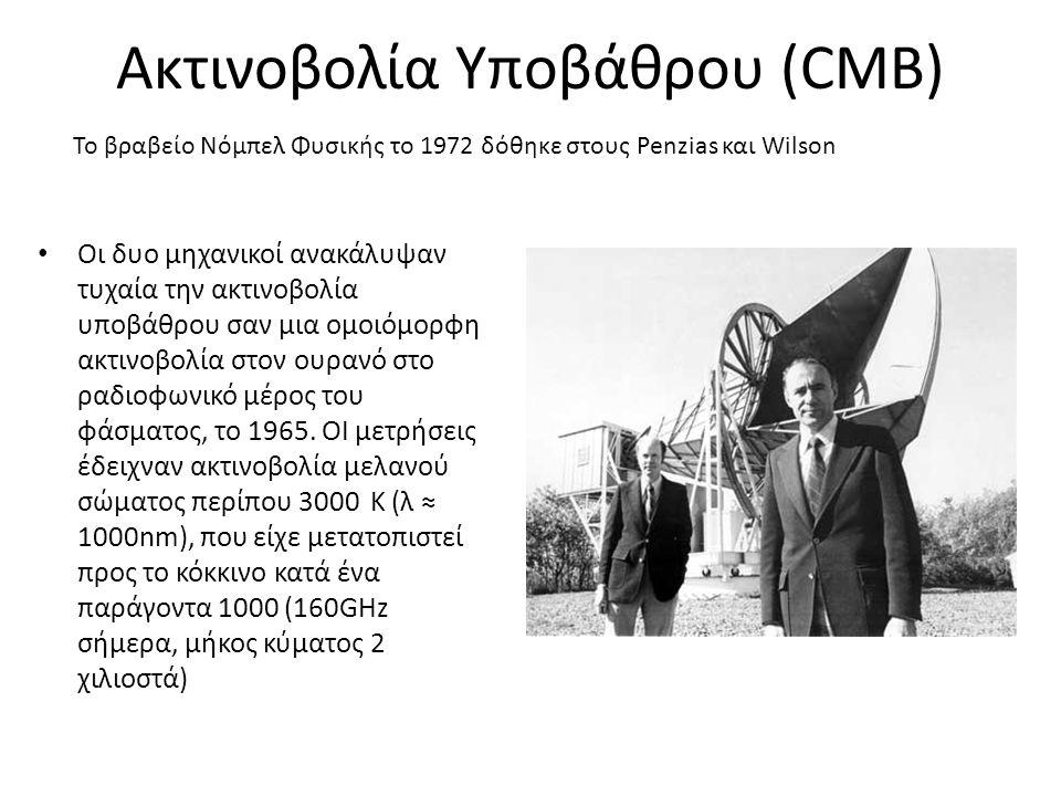 • Οι δυο μηχανικοί ανακάλυψαν τυχαία την ακτινοβολία υποβάθρου σαν μια ομοιόμορφη ακτινοβολία στον ουρανό στο ραδιοφωνικό μέρος του φάσματος, το 1965.