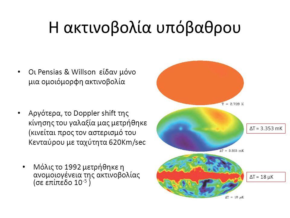 Η ακτινοβολία υπόβαθρου • Οι Pensias & Willson είδαν μόνο μια ομοιόμορφη ακτινοβολία • Αργότερα, το Doppler shift της κίνησης του γαλαξία μας μετρήθηκ
