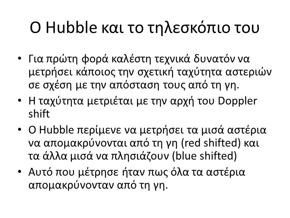Ο Hubble και το τηλεσκόπιο του • Για πρώτη φορά καλέστη τεχνικά δυνατόν να μετρήσει κάποιος την σχετική ταχύτητα αστεριών σε σχέση με την απόσταση του